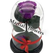 Фиолетовая роза в колбе 16 на 10 см MINI