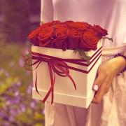 17 роза, лента, оазис, коробка «S»