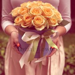 """21 роза, лента, коробка """"S"""""""