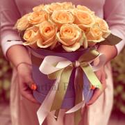 21 роза, лента, коробка «S»