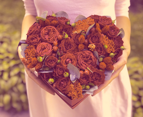 скимия, роза спрей, хиперикум, эвкалипт, лагурус, коробка