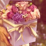 e3dfc57эустома, роза спрей, роза импорт, хамелациум, гвоздика, коробка «S»fab2